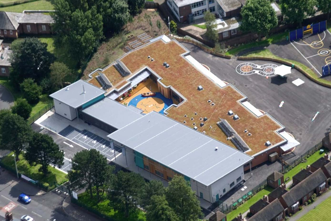Exterior view of a green roof on a building
