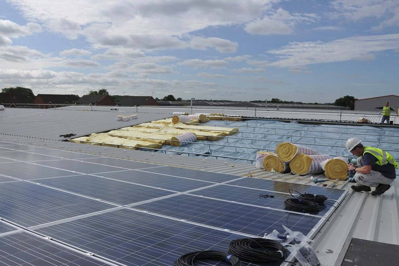 Photovoltaic panels are being installed