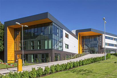 Yellow cladding Harborne Academy