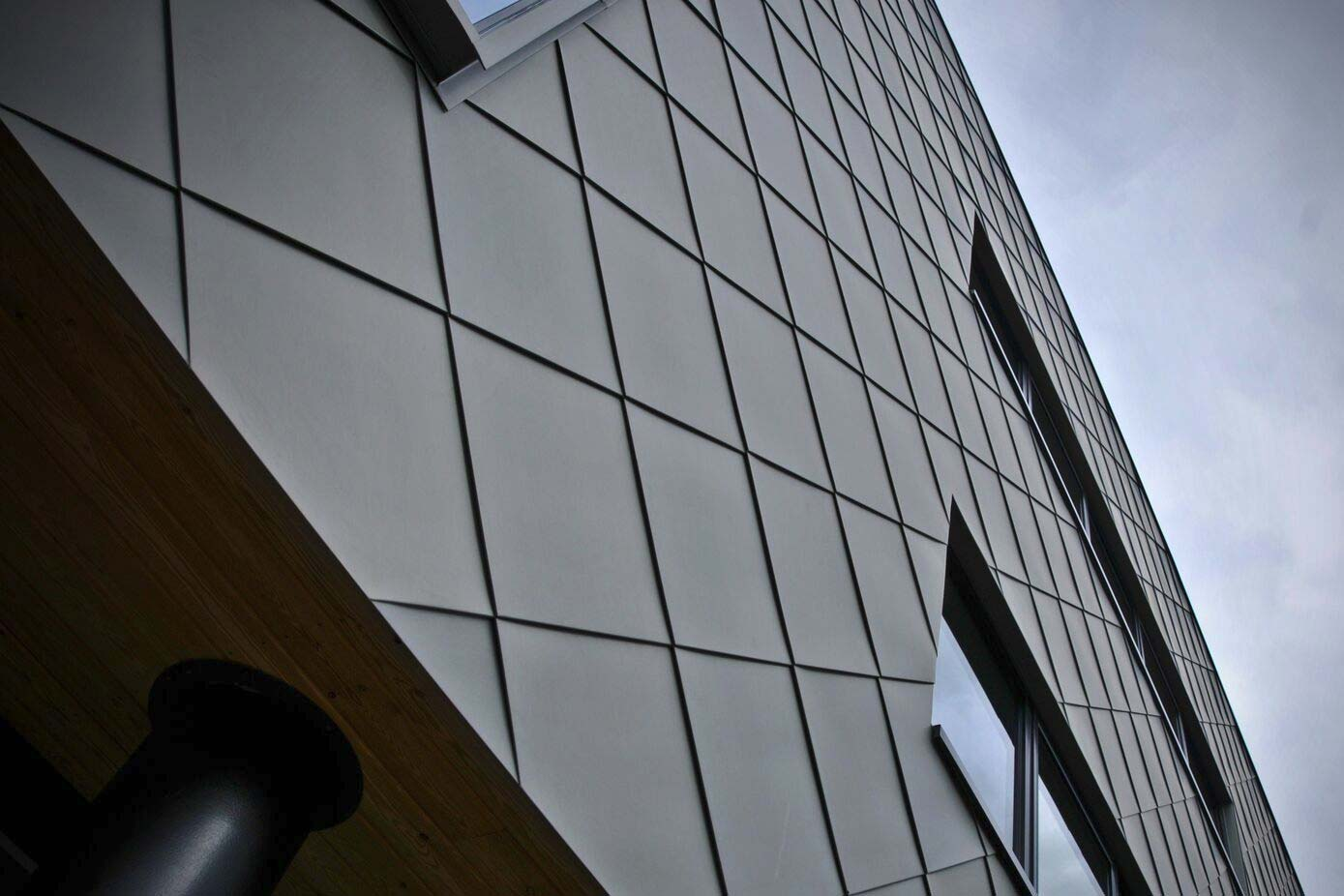Close up of the cladding on Leicester Science Park