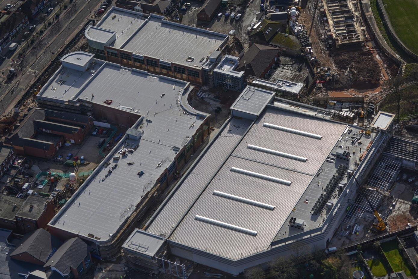 Birdseye view of a large commercial roof