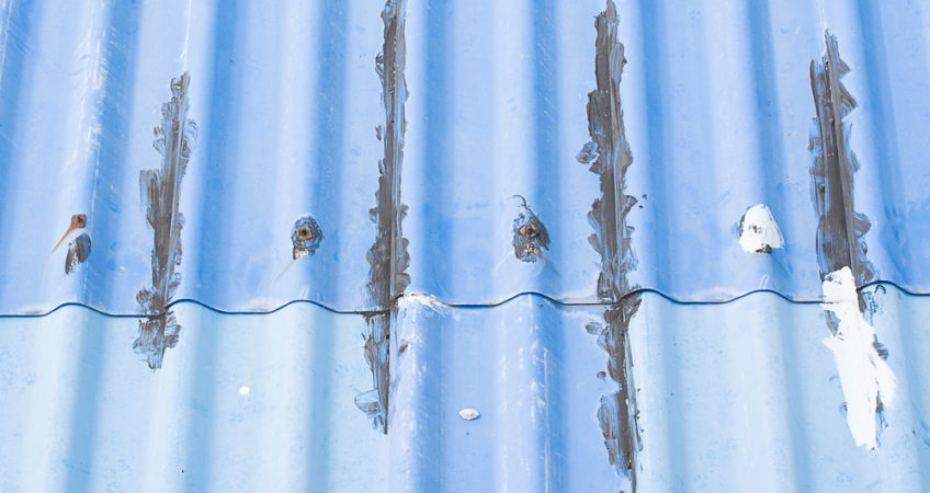 Damage on a commercial roof