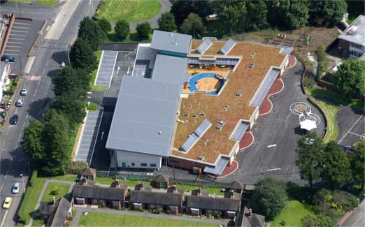 A green roof installed on a commercial roof